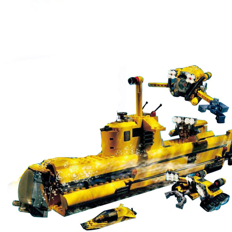 ФОТО 24012 Ocean Odyssey UnderSea Exploration Submarine Creator Building Block Set Kids Model Toy Compatible with 4888