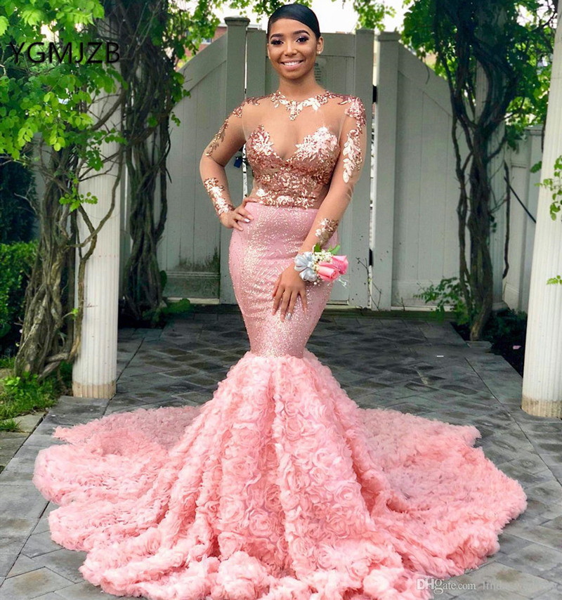 Sparkly Sexy Pink   Prom     Dress   2019 Mermaid Long Sleeves Black Girl Sequin Lace 3D Flower African Formal Evening Party Gown
