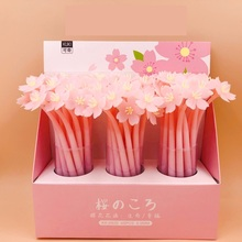 48pcs/pack Creative Japanese Flower Cherry Soft Silicone Korean Stationery Student Black Ink Signature Gel Pen