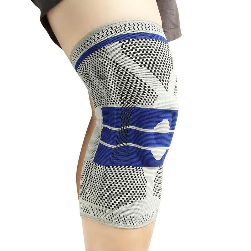 Breathable Silicone Padded Sports Knee Pad Spring Knee Support Knee Brace Basketball Tennis Cycling Meniscus Patella Protector