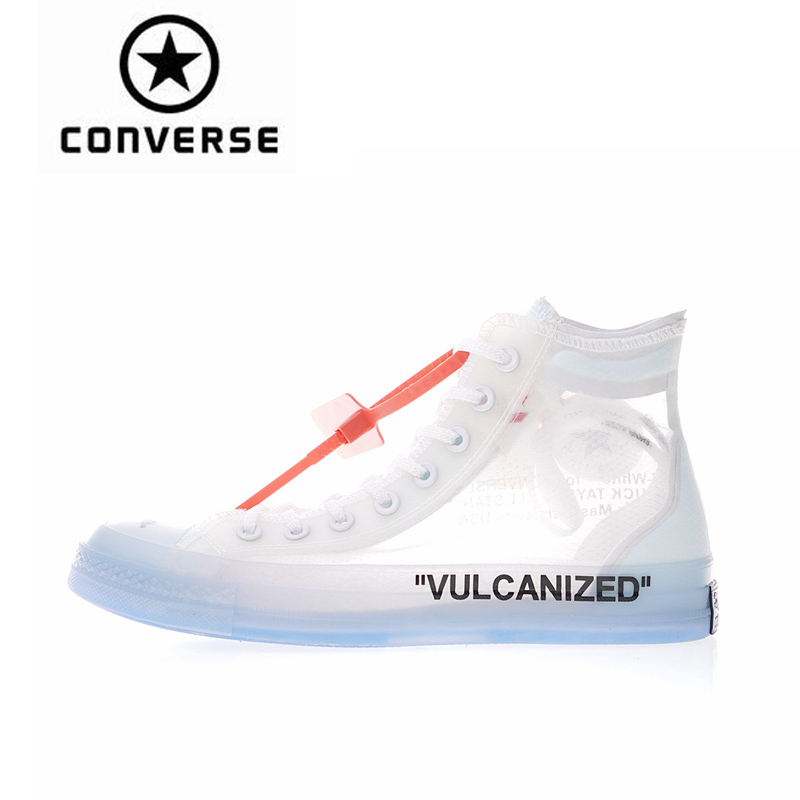 Converse High Top 1970s OFFWHITE Classic Skateboarding Shoes Unisex Canvas Anti-Slippery Sneakser