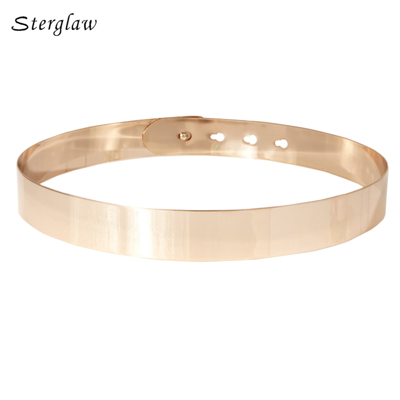Women Punk Full Metal Mirror skinny Waist   Belt   2019 Metallic Gold Plate Wide Lady ceinture sashes for dresses J002