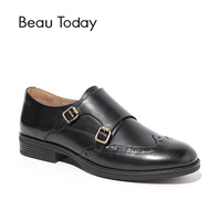 BeauToday Monk Shoes Women Wingtip Top Quality Genuine Calf Leather Buckle Strap Round Toe Brand Flats