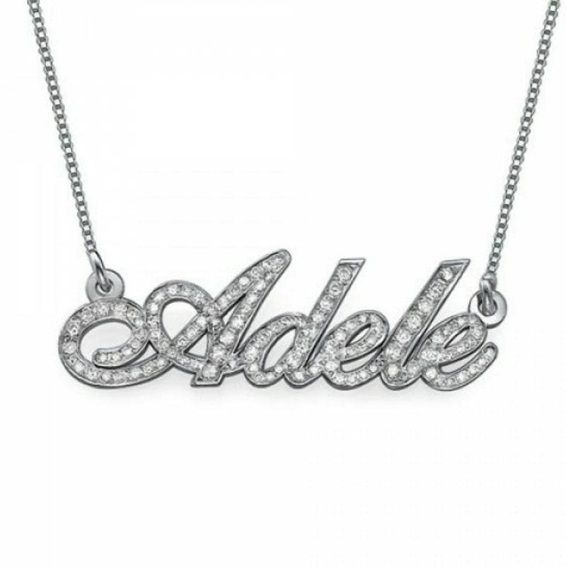 Personalized Women Custom Name Necklace with Full Zircon 925 solid silver Name Pendent Bling Jewelry