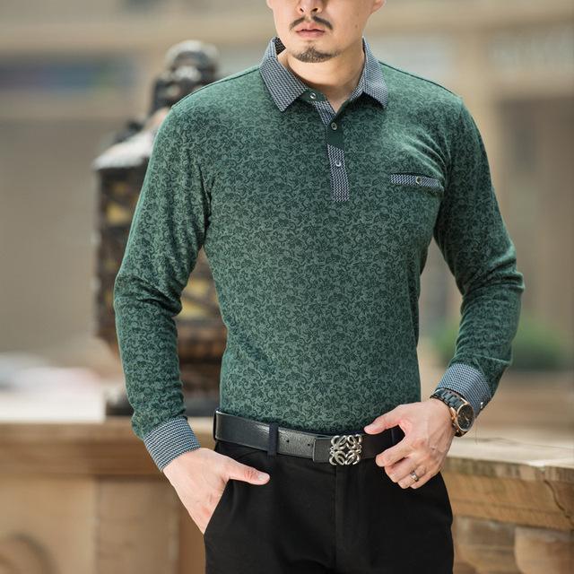 2017 nueva primavera otoño polo homme camisas de polo de manga larga de los hombres de mediana edad de cuello hombres ocasionales impresos camisas de algodón completo