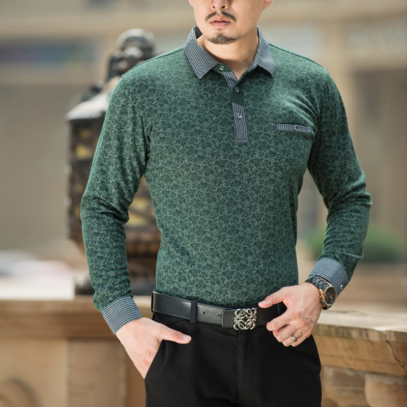 2019 new Spring autumn   polo   homme Men's long sleeve   Polo   shirts collar middle-aged men casual printed cotton full shirts