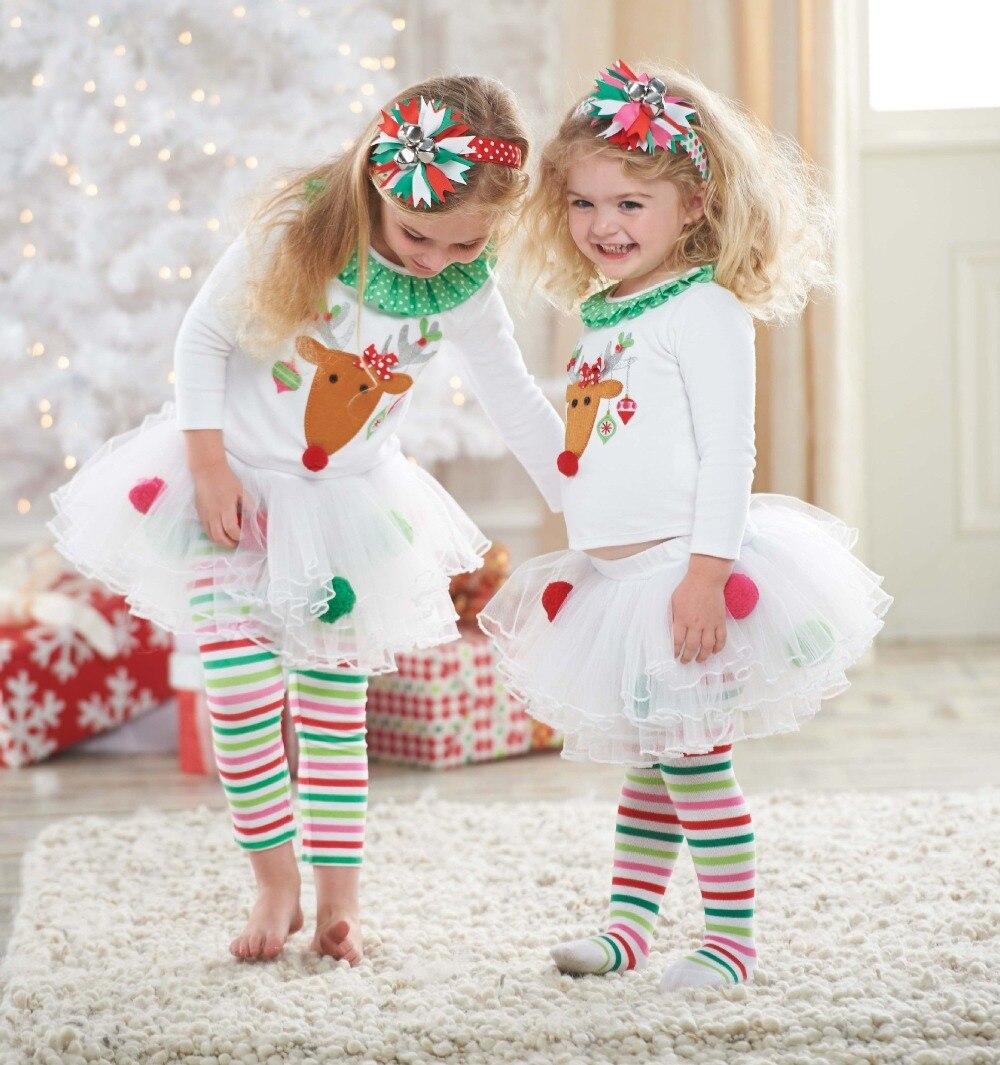2017 children Christmas Costume Merry Christmas Baby Girl pajama suit for Girls Christmas Reindeer clothing set