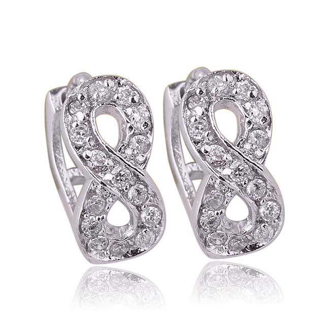 Infini Shape Women 925 Sterling Silver Hoop Earrings Fashion gadge E107