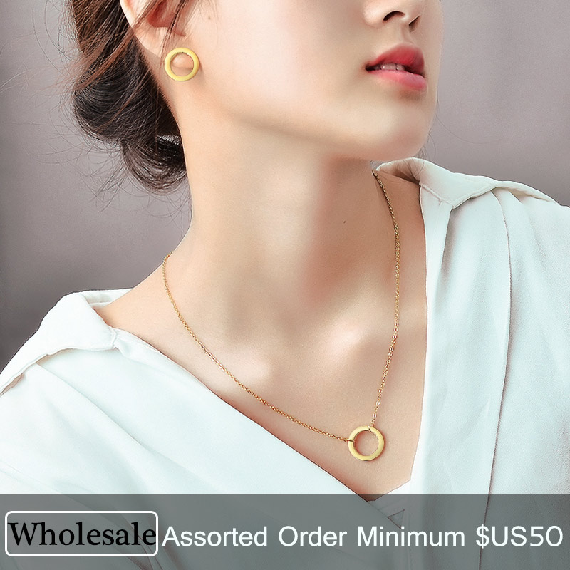 Lot Stainless Steel Accessory Female Women African Gold Ring Necklace Jewelry Sets Mix Bulk Lots Wholesale
