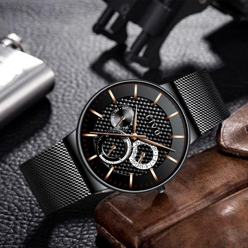 Reloj militar deportivo para hombre reloj de fecha cronógrafo resistente al agua para hombre reloj de malla de acero inoxidable azul-in Relojes deportivos from Relojes de pulsera    3