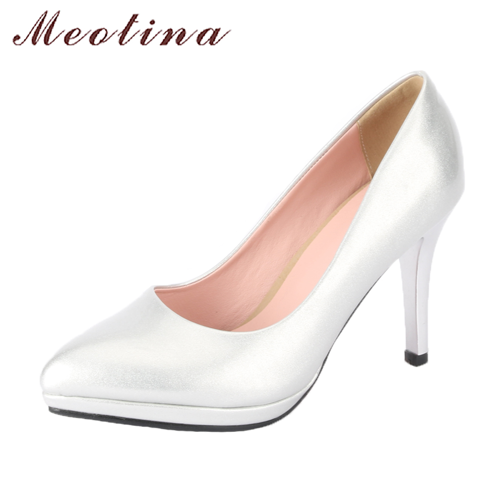 Meotina Sexy High Heels Women Wedding Shoes Pumps Pointed Toe Platform High Heels Party Shoes Female Slip On Pumps Shoes 2018 meotina high heels shoes women pumps party shoes fashion thick high heels pointed toe flock ladies shoes gray plus size 10 40 43