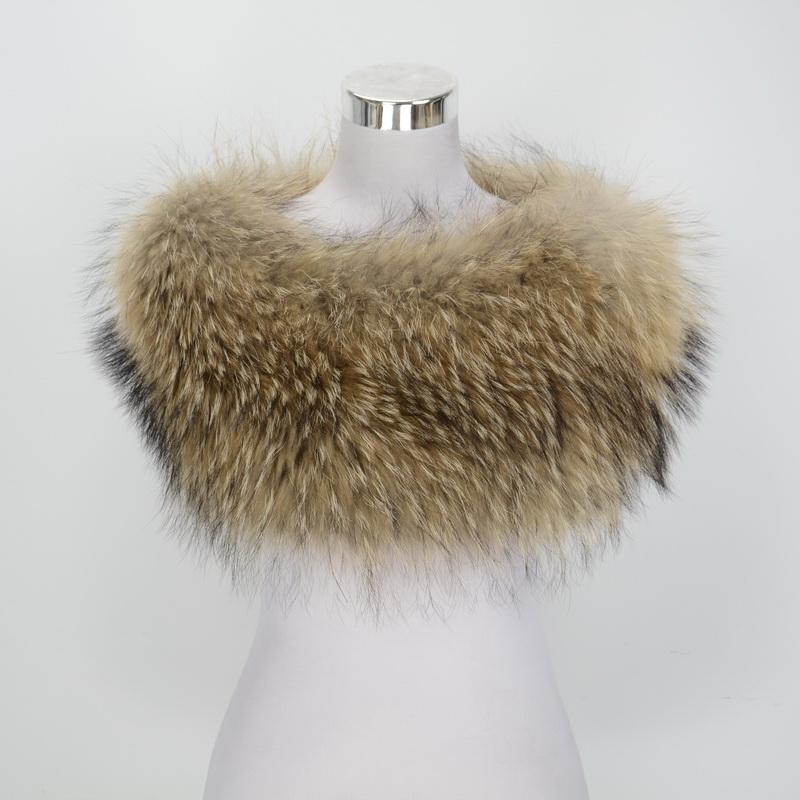 S1364 New Real Raccoon Fur Shawl Women Winter Fashion Warm Poncho