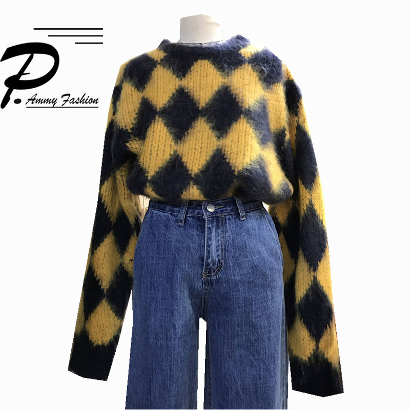 Womens Rabbit hair Diamond pattern Loose sweater 2017 Vintage Long sleeve Pullover Casual knitted Argyle sweaters Pullover Tops
