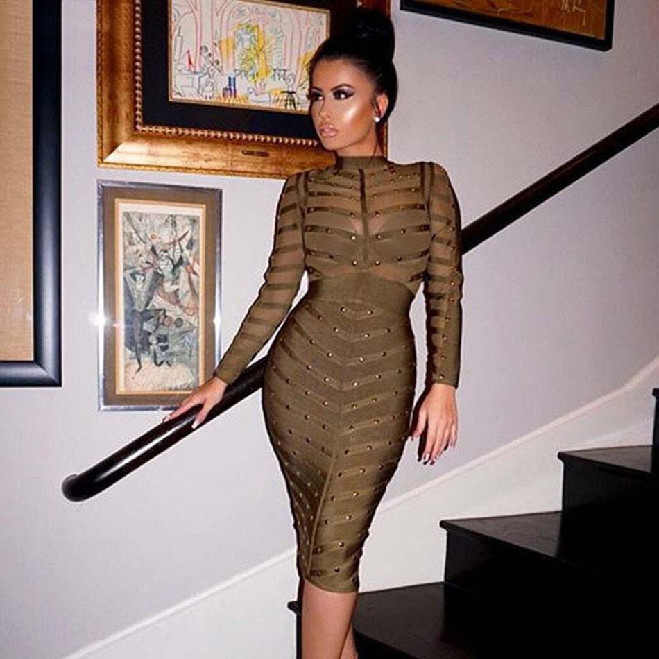 2019 New Winter Celebrity Party Bandage Dress Women Knee Length Bodycon Dresses Sexy Mesh Long Sleeve Beaded Dresses