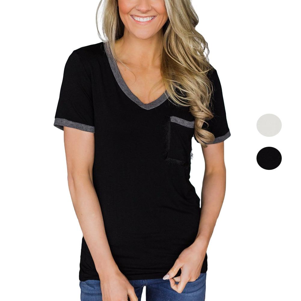 Women Casual V-neck Trimmed T-shirt Short Sleeve Pocket Summer Solid T-Shirts Tops FS99