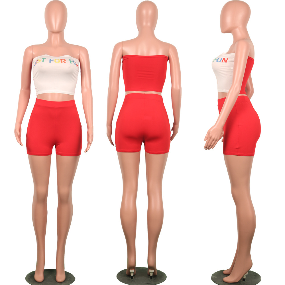 HTB1f0bYRhnaK1RjSZFtq6zC2VXaL - Summer Two Piece Outfits for Women Letter Print Sexy Set Crop Top and Short Pants Club Matching Sets biker shorts Plue suze