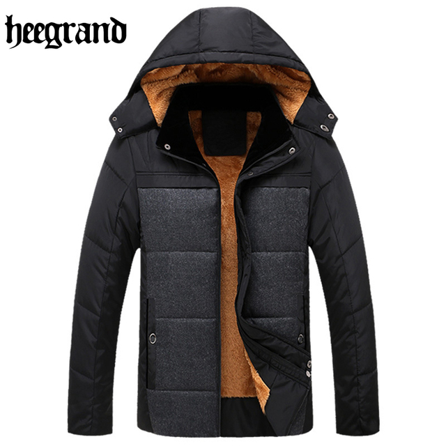 HEE GRAND 2017 Male Jackets Mens Brand Thick Warm Fur Collar Hooded Coat Men Casual Winter Jacket MWM1488