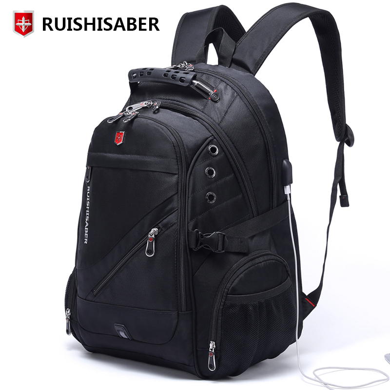 New Oxford Swiss Backpack Man External Charging USB 15 17 Inch Laptop Women Travel Rucksack Vintage