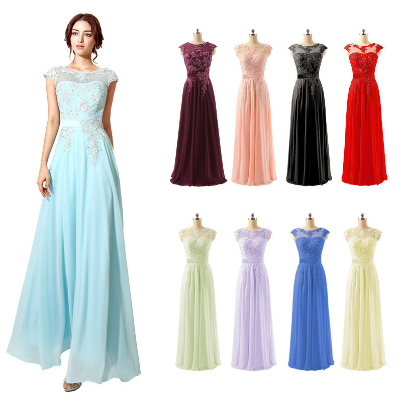 Elegant Women Cap Sleeve Prom Dresses 2018 Cheap Beading Lace Appliques Chiffon Sheer Neckline Evening Party Gowns OS181