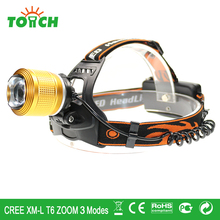3800LM CREE XM-L T6 head lamp tactical 3 modes focus beam led head flashlight 2×18650 rechargeable head held headlight