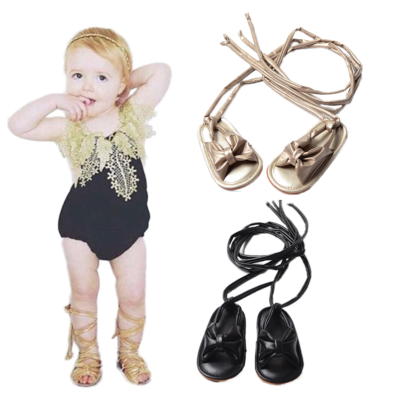 New Arrival Baby Girls Chic Sandals Lace Up Infant Toddler Roman Sandals With Bowknot Bebe Tie String Flats Nonslip Shoes