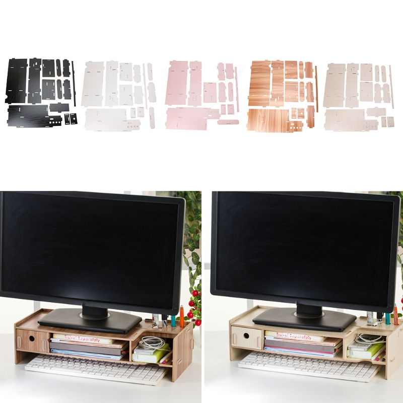 Cherry/White/Black Wood Color Wooden Monitor Riser TV Stand Desk Organizer Storage Space For Computer Laptop fitueyes wood monitor stand computer monitor riser desktop organizer tv shelves display shelf storage space 2 tiers laptop stand