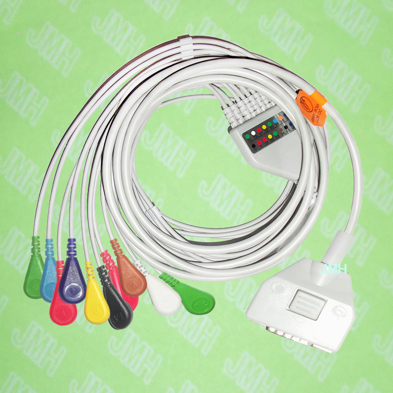лучшая цена Compatible with 15 pin Fukuda ME KP-500 EKG Patient monitor the One-piece 10 leads ECG cable and Snap leadwires,IEC or AHA.