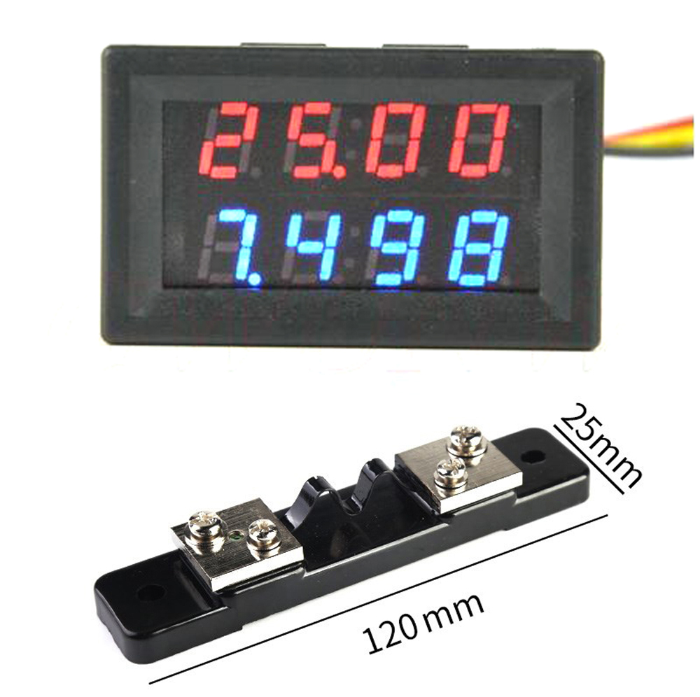 DYKB DC 200V 0-20A +20A 75mV Shunt  Voltmeter Ammeter LED Dual Display For 12v 24v Car Voltage Current Monitor