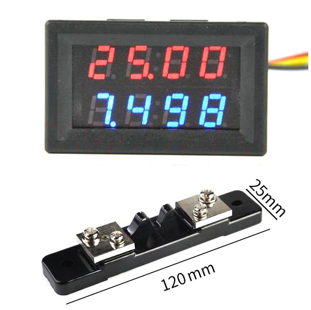 DYKB DC 200V 0-20A +20A 75mV Shunt  Voltmeter Ammeter LED Dual Display For 12v 24v Car Voltage Current Monitor