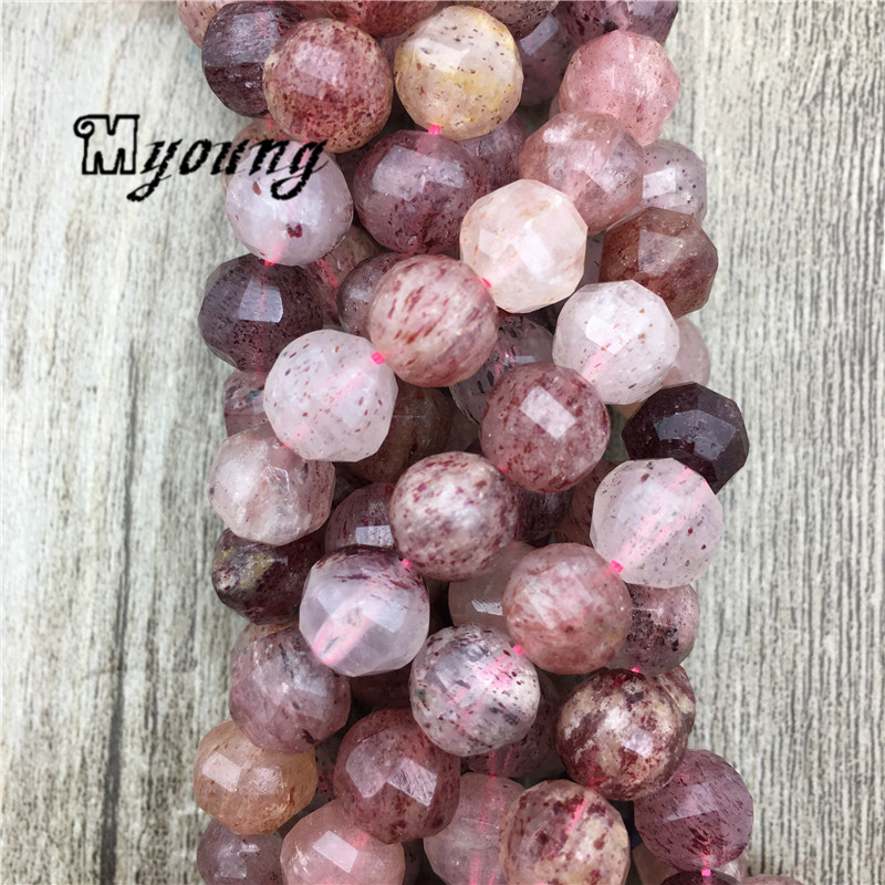 Strawberry Crystal Faceted Lantern Loose beads Hand Cut Facted Quartz Druzy Wine Red Beads For DIY