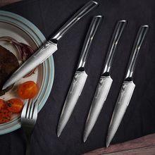 Sunnecko 4 adet biftek bıçağı seti 5 inç mutfak masa yemeği bıçakları japon VG10 çekirdek çelik şam bıçak G10 kolu yemek takımı
