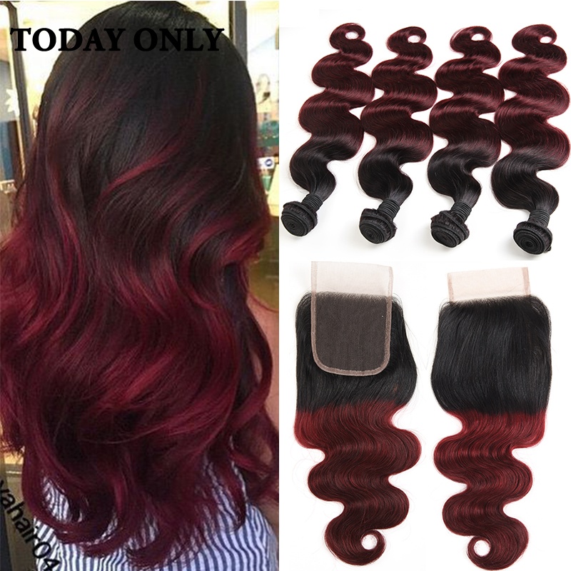 Ombre Brazilian Virgin Hair 4 Bundles with Closure Brazilian Body Wave with Closure 1b/99J Burgundy Brazilian Hair With Closure