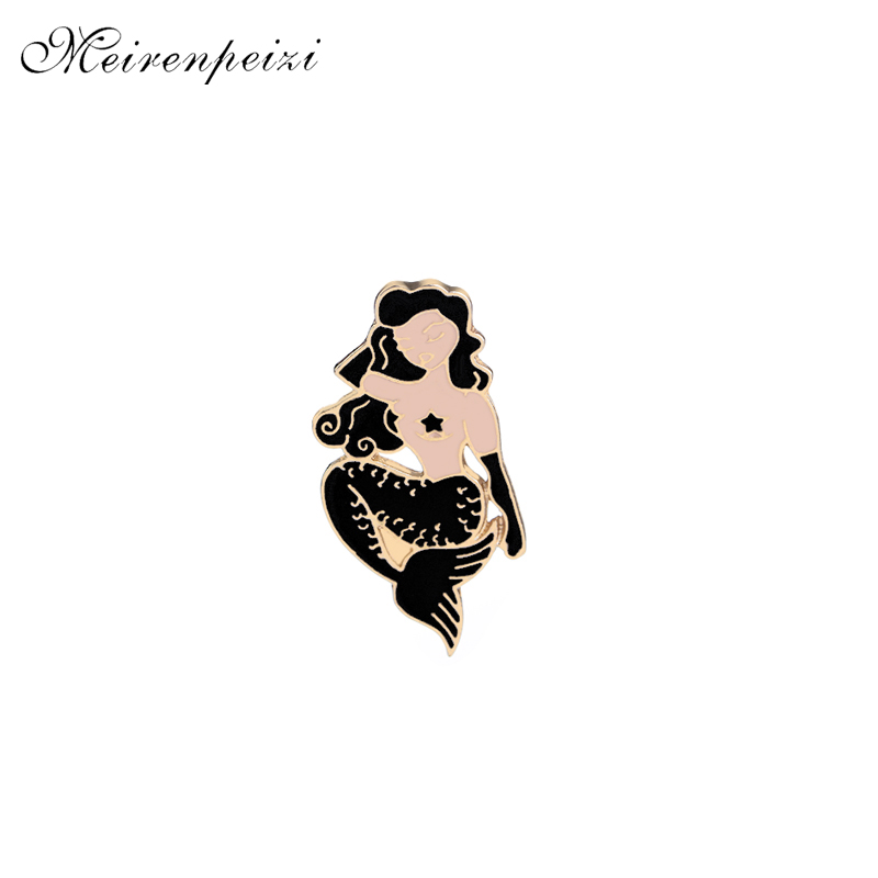 Mermaid pins sexy women pins and brooches cosplay Pin Curls beauty Enamel Badge lapel pin for dress party gift lady black Flake