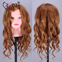 20'' Golden Professional Styling Head Wig Head Stand Women Makeup Hairdressing Dummy Doll Training Head Hair Mannequin Head purple professional styling head wig head stand women makeup hairdressing dummy doll training head hair mannequin head