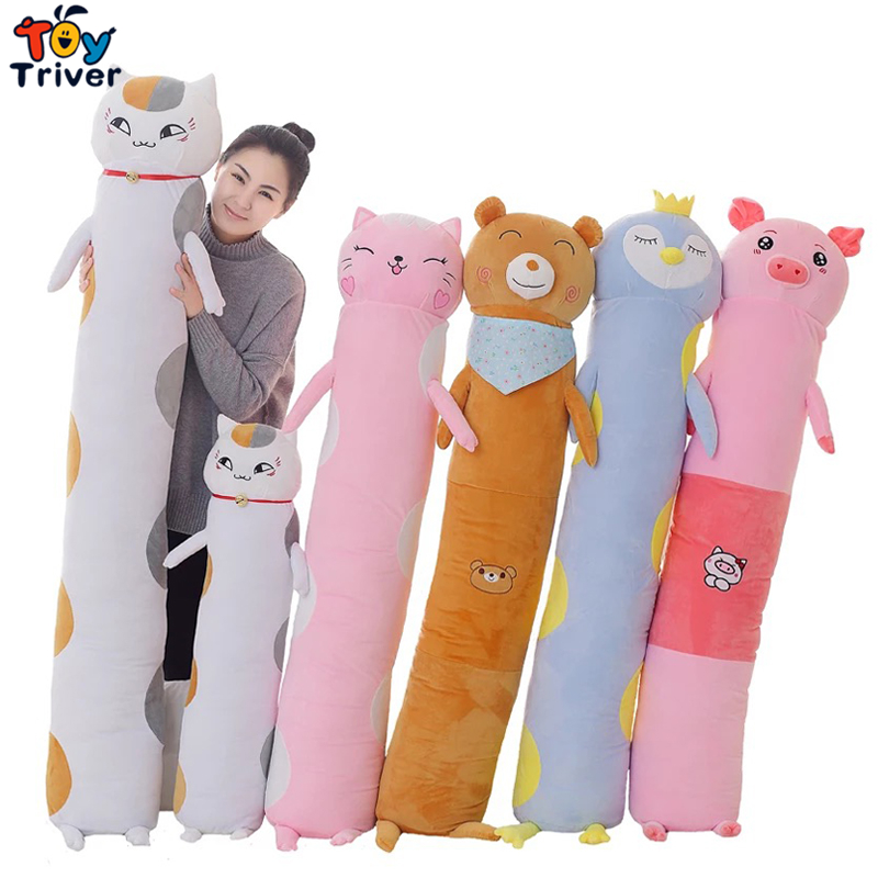 145cm Plush Natsume's Book of Friend Cat Bear Pig Penguin Toy Doll Boyfriend Long Pillow Cushion Stuffed Bolster Gift Triver cute kawaii pencil case school pencil bag korean stationery pu leather pen bags box for boys girls