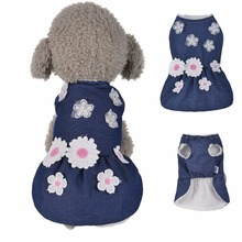 X17 New Winter Pet dog Denim Dress Jacket Clothes Warm Floral Cute Puppy Dog Cats Jeans Skirt Costumes for Chihuahua Yorkie