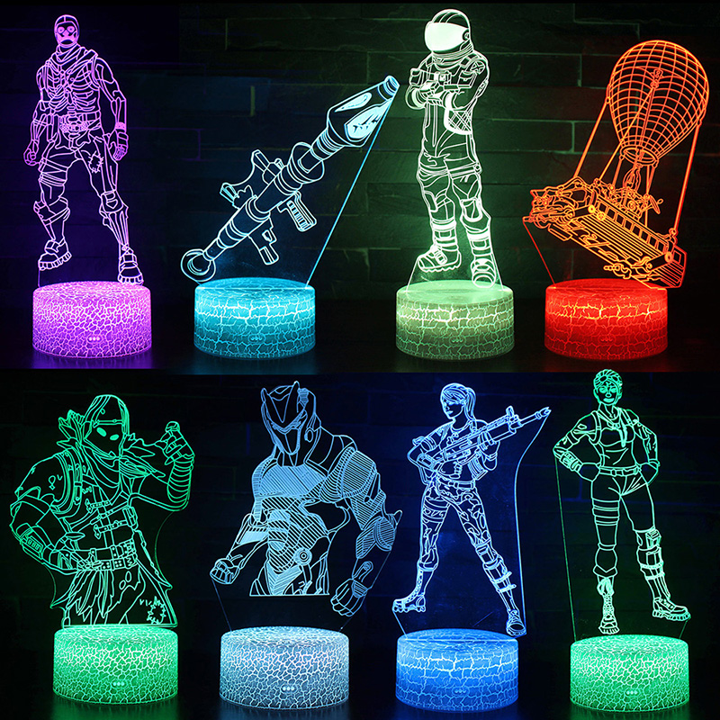 Battle Royale Night Light Kids Bedroom Sleep Light Remote Control LED Lamp Fortnight Party Supplies Decoration Christmas Gifts