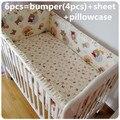 Promoción! 6 unids lavable sistema del lecho del bebé bebe jogo de cama cuna cuna juego de cama ( bumpers + hojas + almohada cubre )