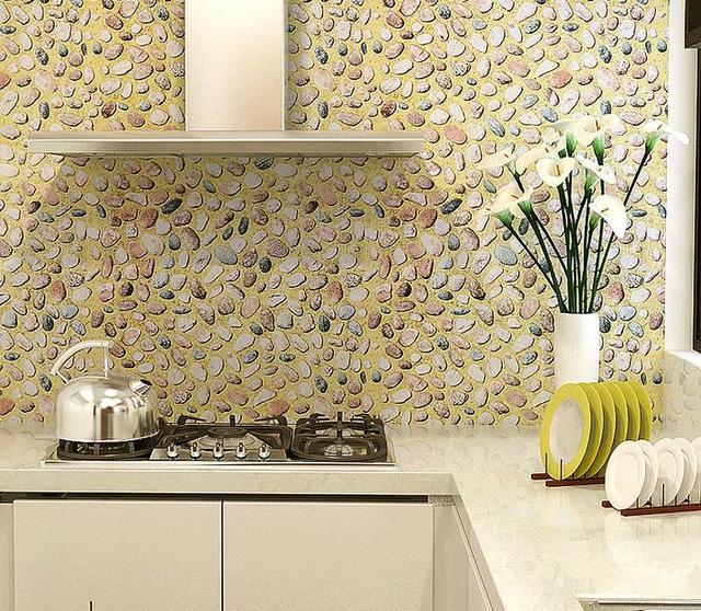 Pvc impermeabile carta da parati 3D guardaroba autoadesivi della mobilia  porta dell\'armadio da cucina decor Pastorale pietra adesivi 45 CM X 5 M
