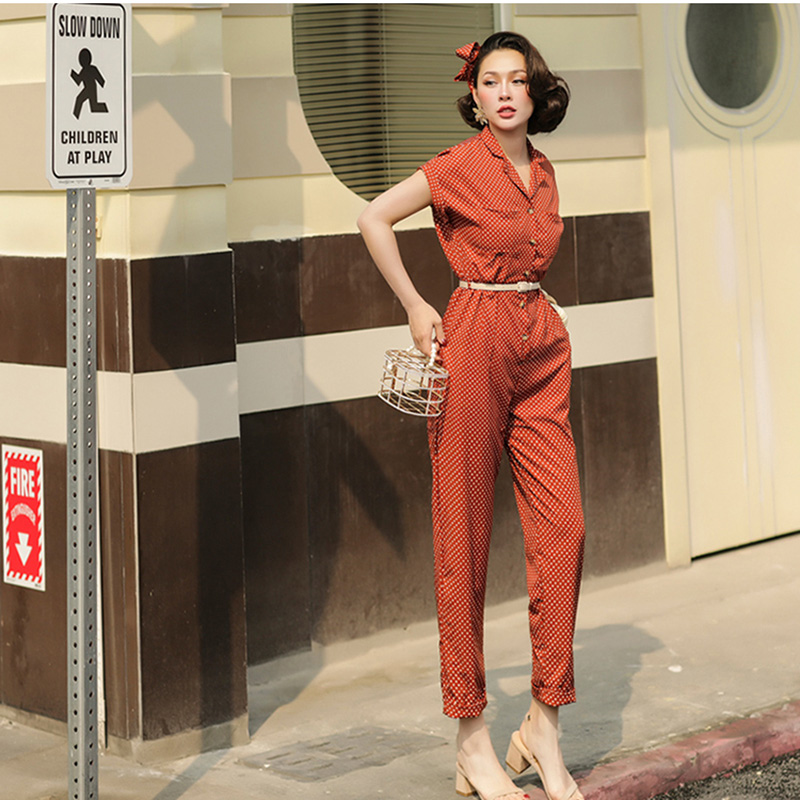 Kadın Giyim'ten Tulumlar'de Le Palais Vintage Şık Polka Dot Dokuz Uzunluğu Tulum Kadınlar Yüksek Rise Ayarlanabilir Kemer Dimi Batwing Kısa Kollu 2019 Yaz'da  Grup 1