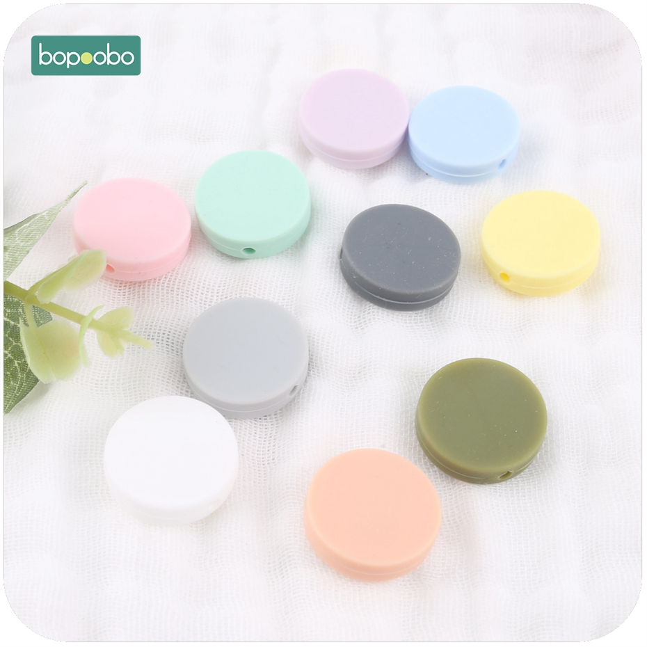 Bopoobo 10pc Silicone Teething Saucer Loose Bead Flat Round Shaped Chew Bead Baby Diy Necklace Silicone Beads Baby Teether 20mm