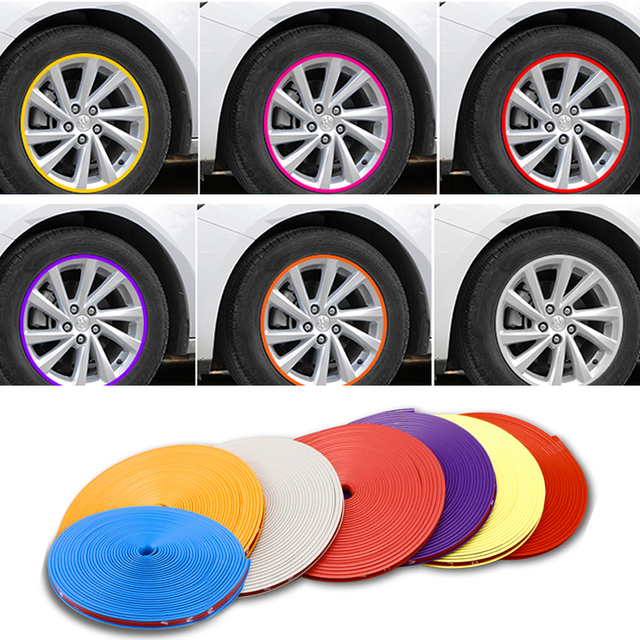 8M/Roll Car Styling Wheel Rims Protector Strip Car Sticker Decorative Moulding Trim IPA Rimblades wiht 10 Colors