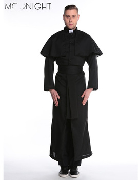 MOONIGHT Halloween Costumes Adult Mens Costume European Religious Men Priest Uniform Fancy Dress Cosplay Costume for Men