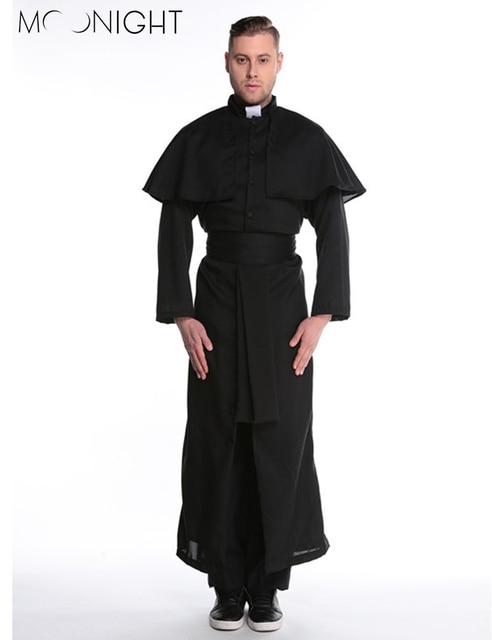 MOONIGHT Halloween Costumes Adult Mens Costume European Religious Men Priest Uniform Fancy Dress Cosplay Costume for Men