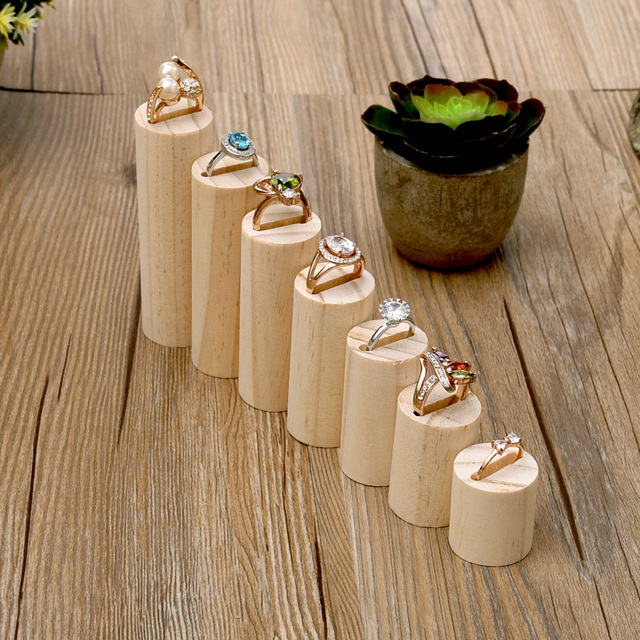 Lot Of 7 Wood Ring Display Holder Jewelry Stand Showcase