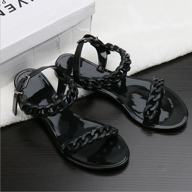 2016 summer flip flops new plastic chain beach shoes candy color jelly sandals chain flat bottomed