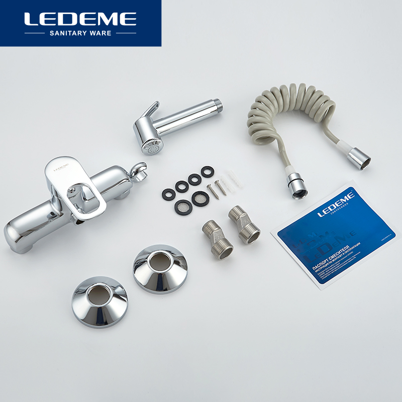 LEDEME Bidet Faucets Bathroom Tap Bidet Toilet Sprayer Bidet Washer Mixer Shower Bidet Double Switch Hot and Cold Water L5249