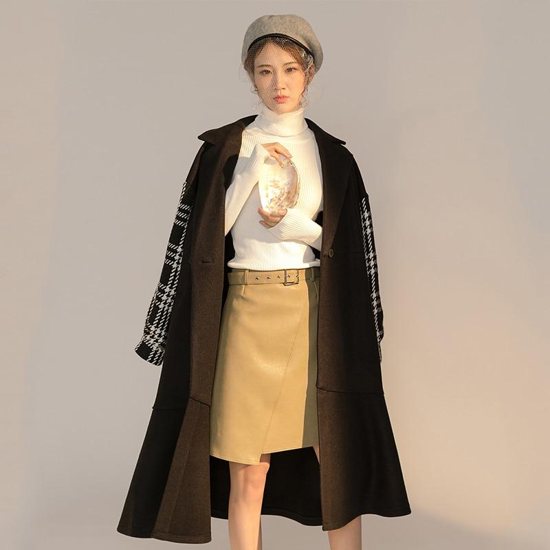 Patchwork Long L'arrière Hiver Mode Black De Manteau Plaine Laine Plus Basculer Manteaux Vérifier Outwear Veste Vers Coréenne Taille Femmes La Femme 6wvq0r6