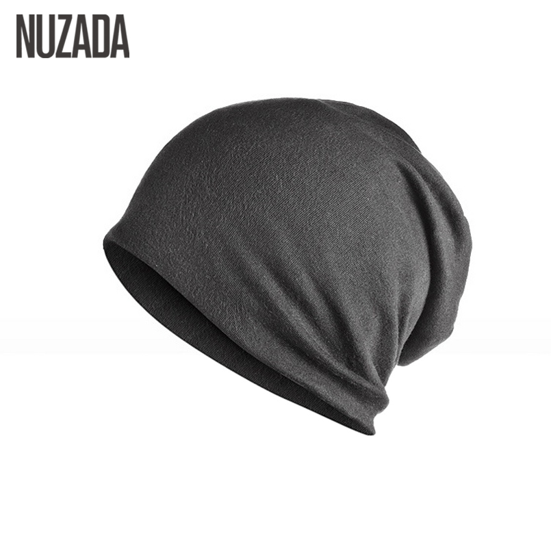 Brand NUZADA Solid Color Unisex Men Women Skullies Beanies Hedging Cap Knit Knitted Cotton Double Layer Fabric Caps Bonnet Hat winter women hedging skullies beanies knitting caps bonnet double layer cotton knitted hat lace cap