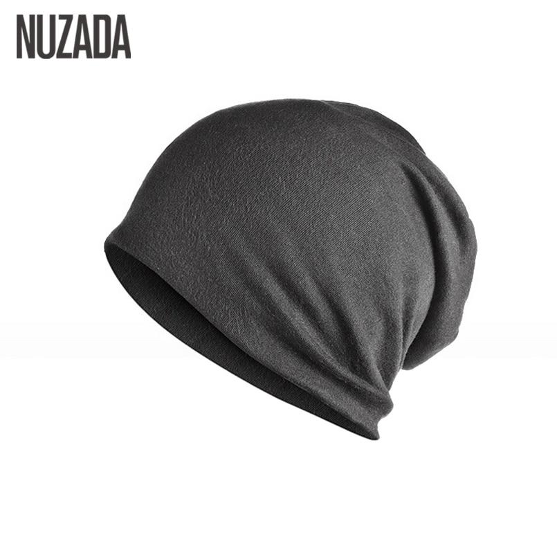 Brand NUZADA Solid Color Unisex Men Women Skullies Beanies Hedging Cap Knit Knitted Cotton Double Layer Fabric Caps Bonnet Hat